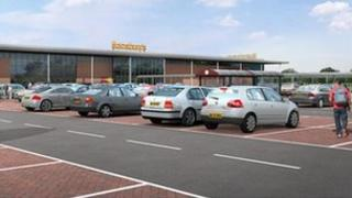 Artist's impression of the proposed new Sainsbury's store at the GE Lighting site
