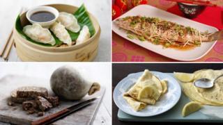 (clockwise) Dumplings, steamed fish, pancakes, haggis