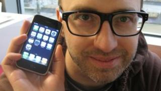 Reporter Mike Wendling with his iPhone 3G