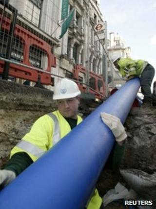 Thames Water engineers install modern pipes to replace Victorian-era water mains in Piccadilly, London