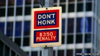 Don't Honk sign in New York (photo courtesy Peter J Bellis/Flickr)