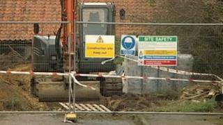 Scene of digger accident