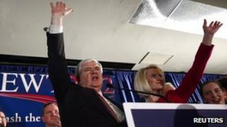 Newt Gingrich and his wife Callista in South Carolina