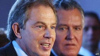 Tony Blair and Peter Hain in Barry in 2005
