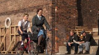 A scene from Call the Midwife featuring Miranda Hart