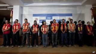 Suspected members of the Sinaloa cartel in Mexico City on 23 January 2012