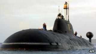 Russian built Akula II vessel in the water