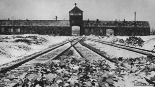 Gate tower, ramp and railway line at Auschwitz