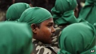 Rebel fighters lay down arms in Guwahati, Assam, 24 Jan