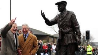 Dickie Bird and Prince Charles in Barnsley. Picture: John Giles/PA Wire