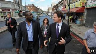 David Lammy and Nick Clegg in Tottenham after the riots