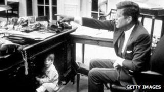 JFK in the Oval Office his son JFK Jr., Washington DC 15 October 1963