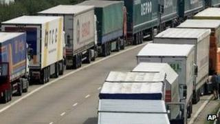 Foreign lorries parked on the M20 in Kent