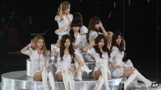 South Korea K-pop group Girls' Generation perform in Hong Kong on 15 January, 2012