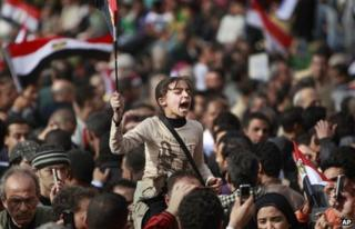A girl shouts at a protest in Tahrir Square (4 February 2011)