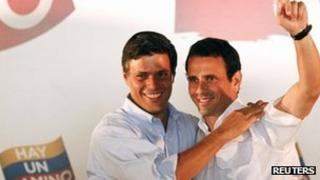 Leopoldo Lopez (left) and Henrique Capriles (right) on 23 January
