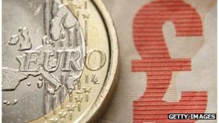 euro coin and £10 note