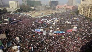 Protesters gather in Tahrir Square, Cairo (25 Jan 2012)