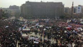 Tahrir Square with crowds