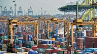 Keppel container port in Singapore