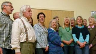 The 16-strong Threnody choir in rehearsal