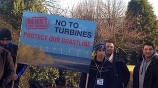 Wind farm protest