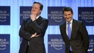 David Cameron and Sebastian Coe at Davos
