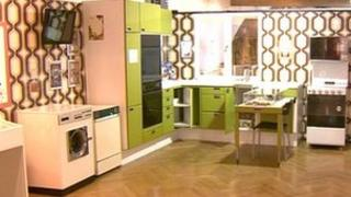 Lime-green 1970s-style kitchen