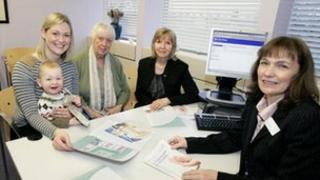 Philippa Sly with her son George and mother Janet Walton, with Councillor Celia Gofton and Registration Officer, Maureen Ball.