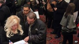Seeking work in New York at a job fair