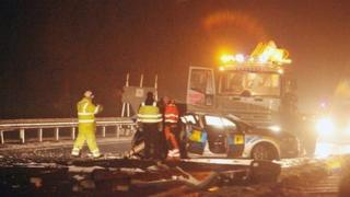 The crash led to the closure of the main Glasgow to Greenock road