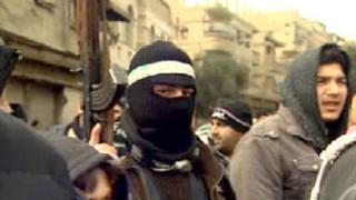 Anti-Assad fighters in Saqba