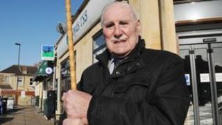 Gordon King outside Lloyds TSB in Bath
