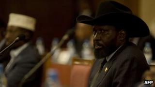 Salva Mayardit Kiir, President of South Sudan attends talks in the Ethiopian capital Addis Ababa January 27, 2012