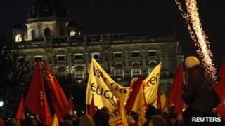 Protesters demonstrate against the Vienna ball
