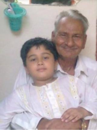 Ashiq Hussain with grandson
