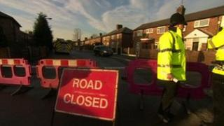 Cordoned off road in Salford