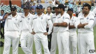 Indian team members attend the presentations after Australia won the fourth cricket Test match against India making a clean sweep of the Border-Gavaskar Trophy Series at the Adelaide Oval on January 28, 2012.