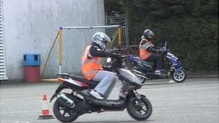 Guernsey compulsory basic motorcycle training at La Mare de Carteret High School