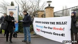 Protesters outside British Gas HQ