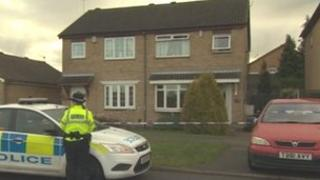 Police outside the house in Rotherham
