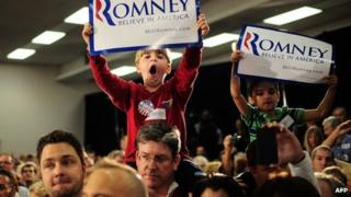 Mitt Romney supporters in Pompano Beach, Florida, on 29 January 2012