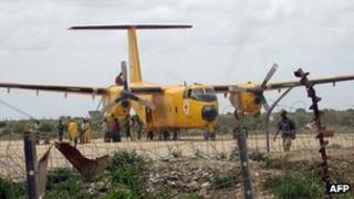 Red Cross plane outside Mogadishu, Somalia (file image)