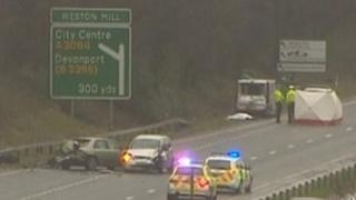 Scene of the crash on the A38