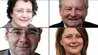 (Clockwise, from top left:) Elin Jones, Lord Elis-Thomas, Leanne Wood and Simon Thomas