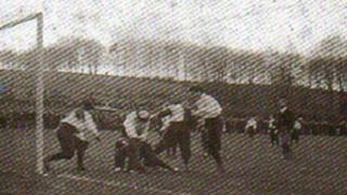 Believed to be first photo of a women's football match the British Women's FC at Wycombe in 1896