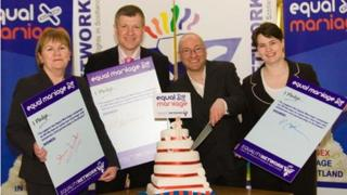 Johann Lamont, Willie Rennie, Patrick Harvie and Ruth Davidson make the Equality Network's Equal Marriage Pledge