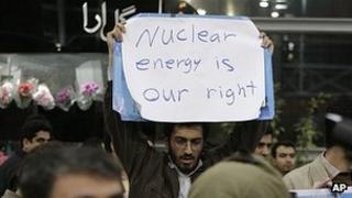 Protester greets IAEA inspectors in Tehran. 29 Jan 2012