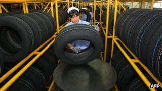 A tyre factory in China