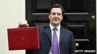 George Osborne with Budget Box on 23 March 2011